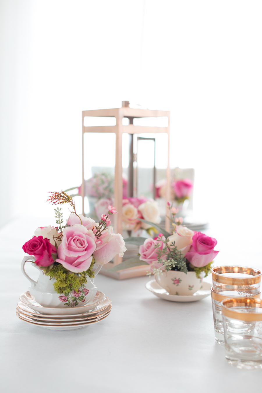 teacup pink flower arrangement