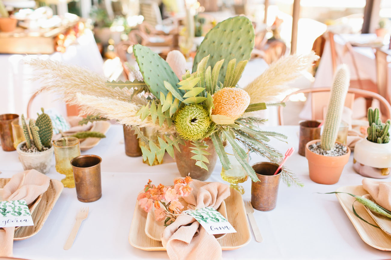 cactus wedding table centerpiece