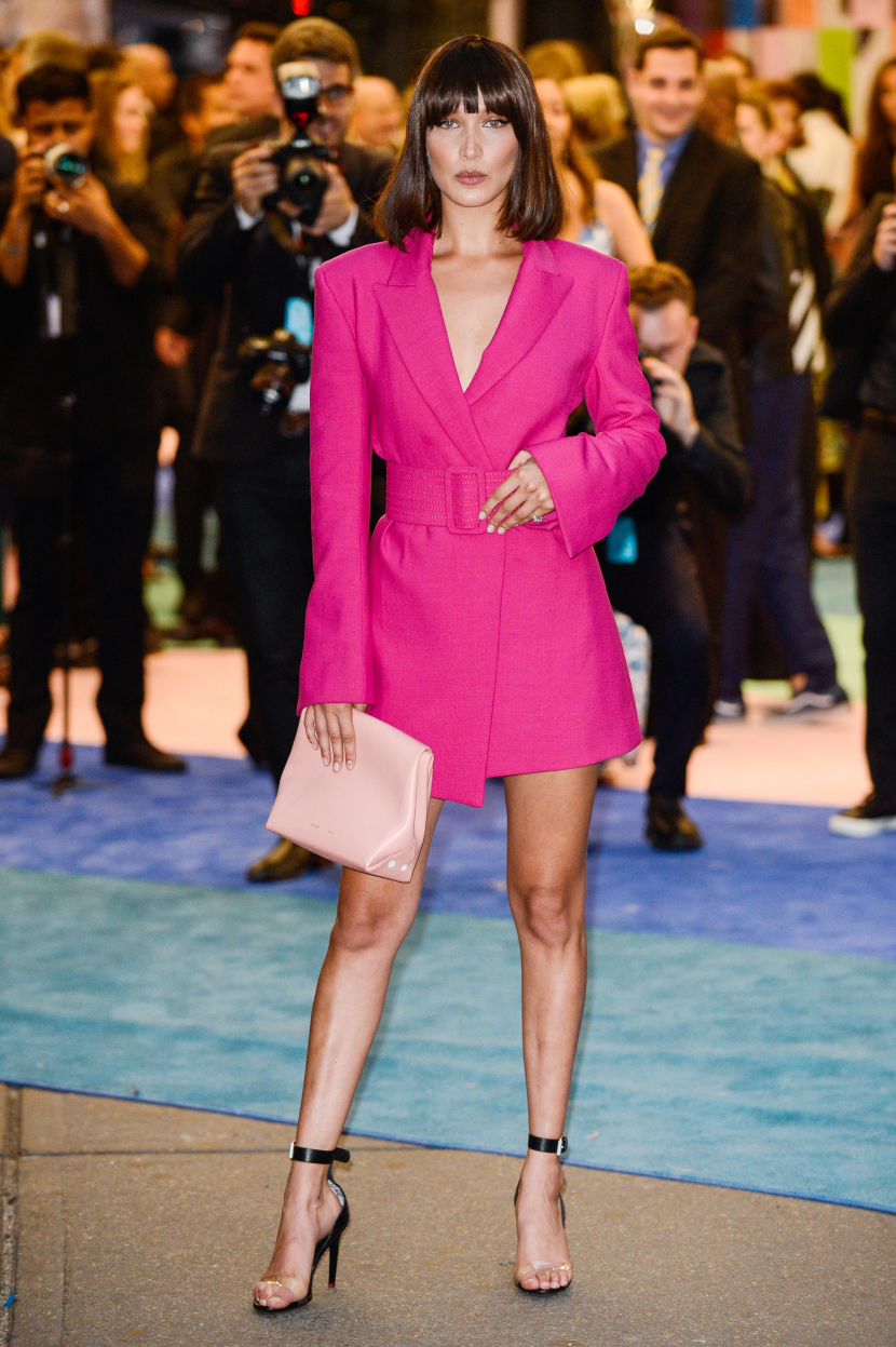 Bella Hadid pink blazer dress