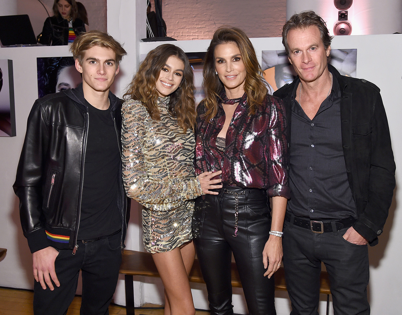 NEW YORK, NY - FEBRUARY 15: (L-R) Presley Gerber, Kaia Gerber, Cindy Crawford and Rande Gerber attend Marc Jacobs Beauty Celebrates Kaia Gerber on February 15, 2017 in New York City. (Photo by Jamie McCarthy/Getty Images for Marc Jacobs)