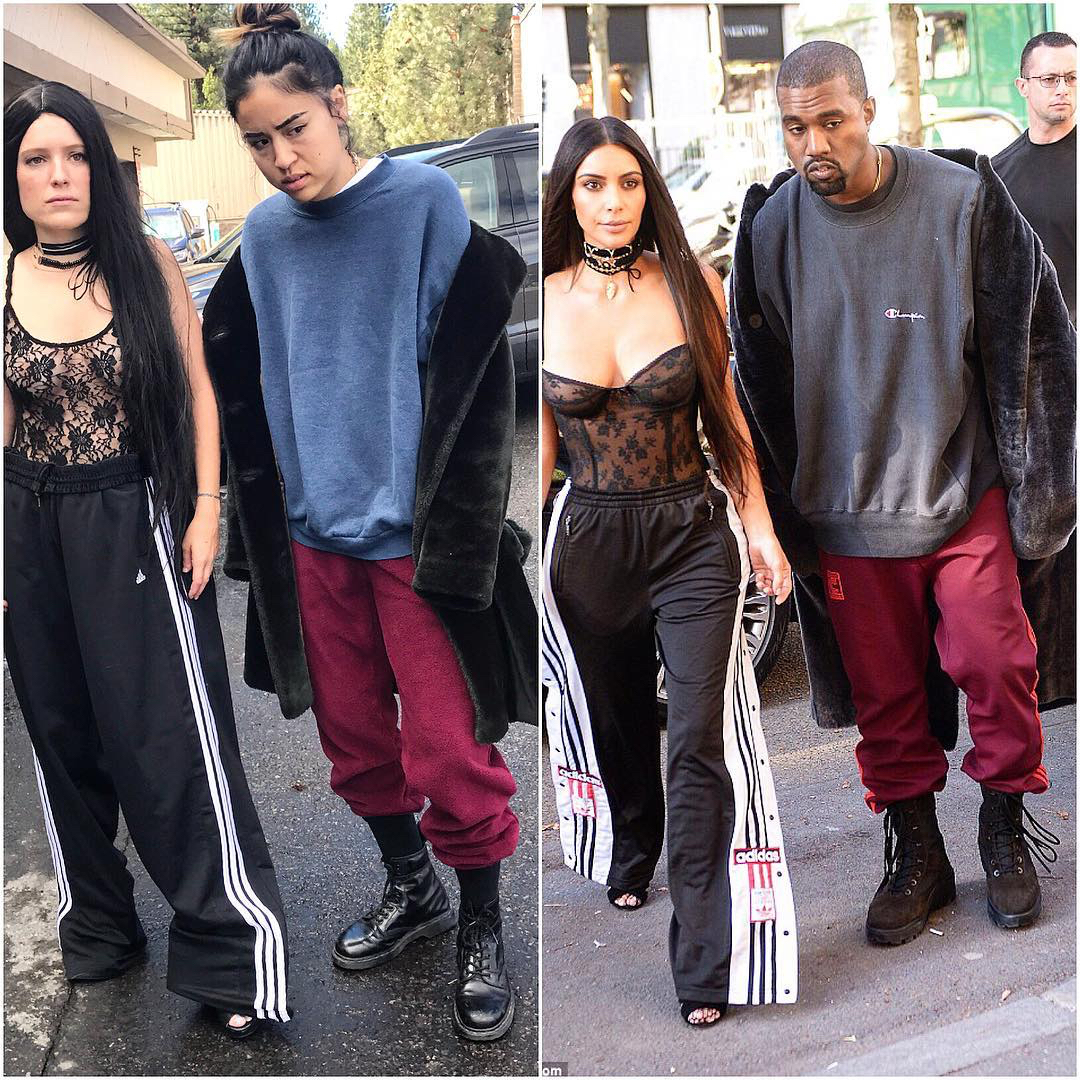 kanye west kim k outfit spoof