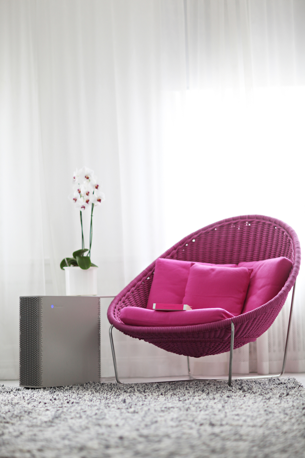 Blueair at home - pink chair - best air filter
