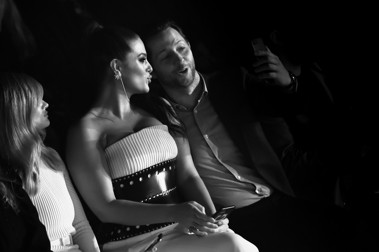 NEW YORK, NY - FEBRUARY 11: (EDITORS NOTE: Image has been converted to black and white.) Ashley Graham and Derek Blasberg attend the Brandon Maxwell front row during New York Fashion Week: The Shows at Appel Room on February 11, 2018 in New York City. (Photo by Dimitrios Kambouris/Getty Images forNew York Fashion Week: The Shows)