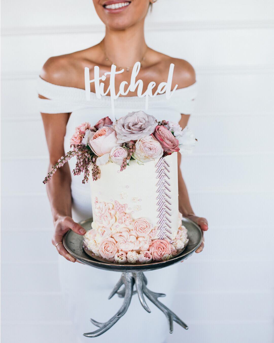 hitched bride wedding cake