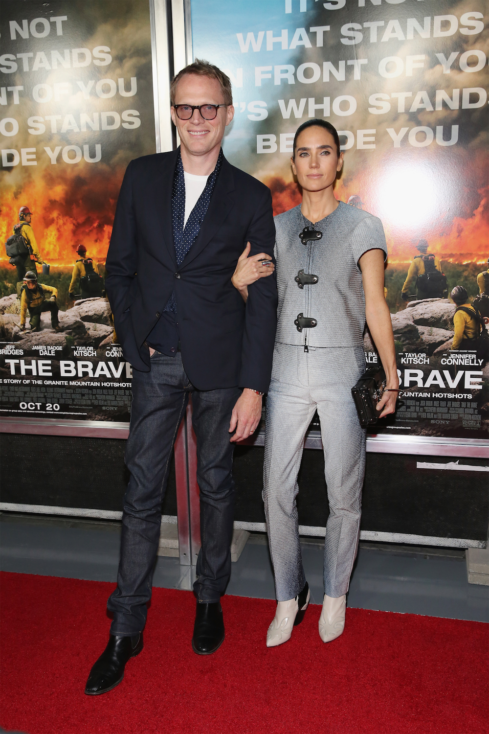 "NEW YORK, NY - OCTOBER 17: Actors Paul Bettany and Jennifer Connelly attend ""Only The Brave"" New York screening at iPic Theater on October 17, 2017 in New York City. (Photo by Mireya Acierto/FilmMagic)"