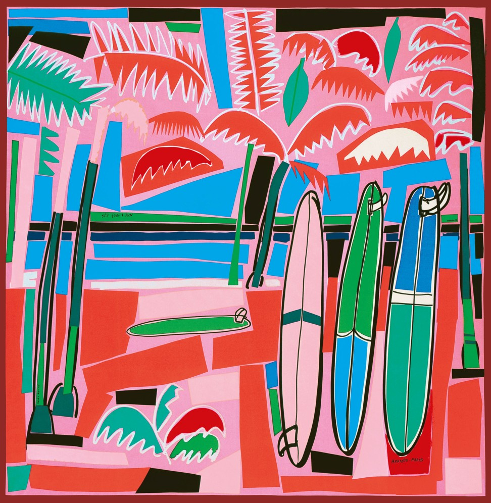 Hermes Sea, Surf and Fun silk square