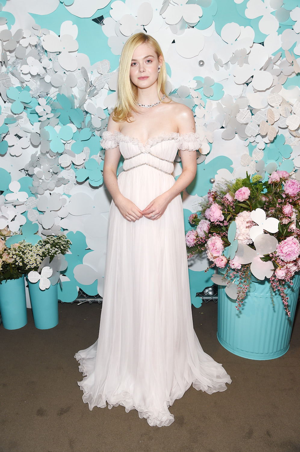 NEW YORK, NY - MAY 03: Elle Fanning attends the Tiffany & Co. Paper Flowers event and Believe In Dreams campaign launch on May 3, 2018 in New York City. (Photo by Jamie McCarthy/Getty Images for Tiffany & Co.)