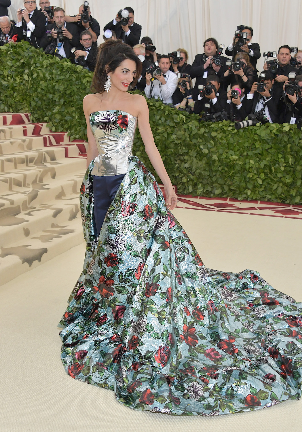 NEW YORK, NY - MAY 07: Amal Clooney attends the Heavenly Bodies: Fashion & The Catholic Imagination Costume Institute Gala at The Metropolitan Museum of Art on May 7, 2018 in New York City. (Photo by Neilson Barnard/Getty Images)