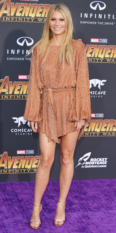 LOS ANGELES, CA - APRIL 23: PGwyneth Paltrow arrives at the Premiere Of Disney And Marvel's 'Avengers: Infinity War' on April 23, 2018 in Los Angeles, California. (Photo by Neilson Barnard/Getty Images)