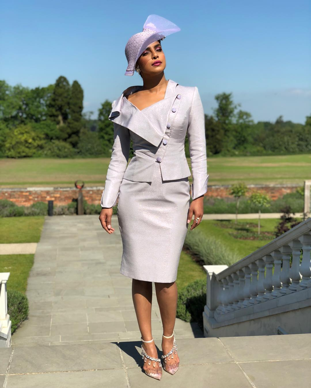 Priyanka Chopra wearing custom Vivienne Westwood to the royal wedding