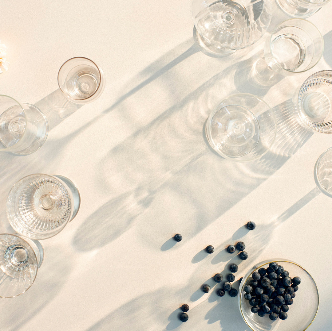 glassware blueberries table setting