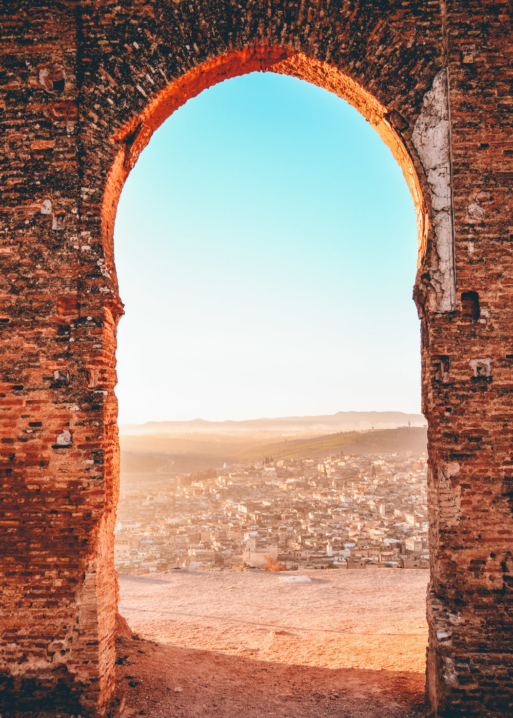 Fez morocco arch view of medina