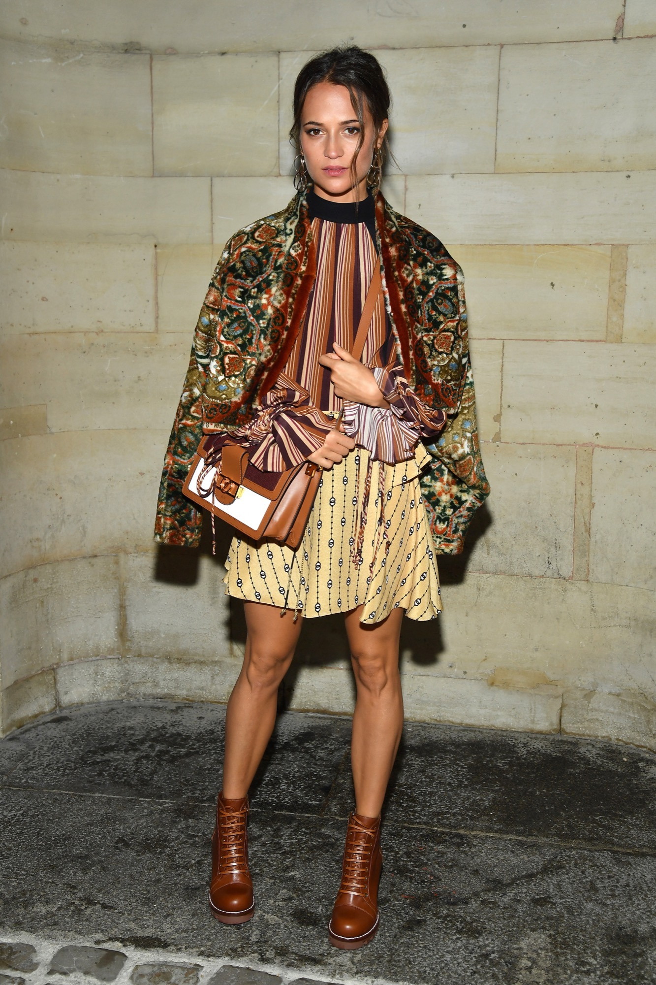Alicia Vikander attends the Louis Vuitton show as part of the Paris Fashion Week Womenswear Spring/Summer 2019 on October 2, 2018 in Paris, France.