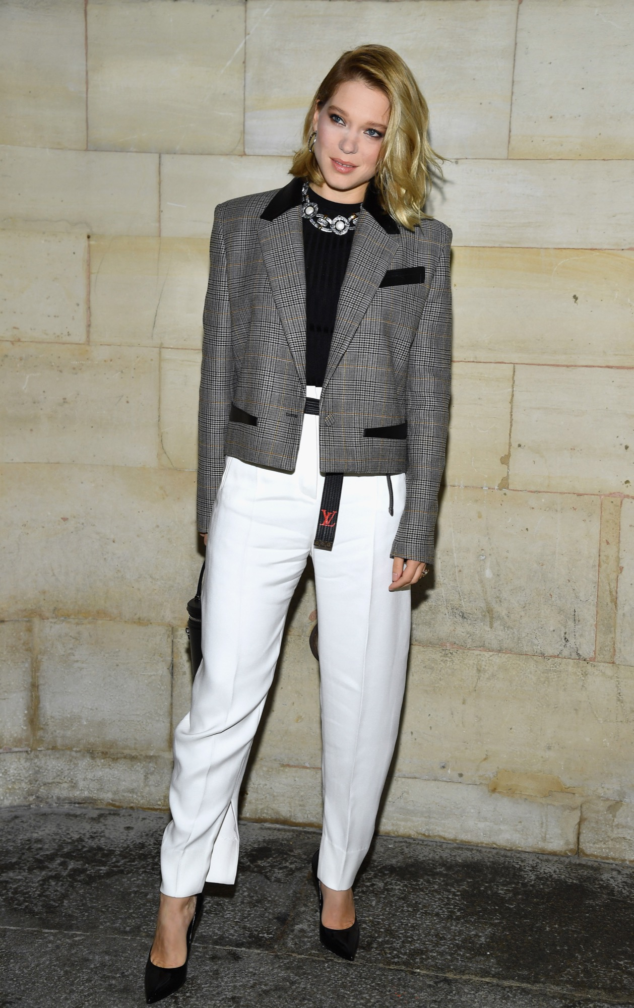 Lea Seydoux attends the Louis Vuitton show as part of the Paris Fashion Week Womenswear Spring/Summer 2019 on October 2, 2018 in Paris, France.