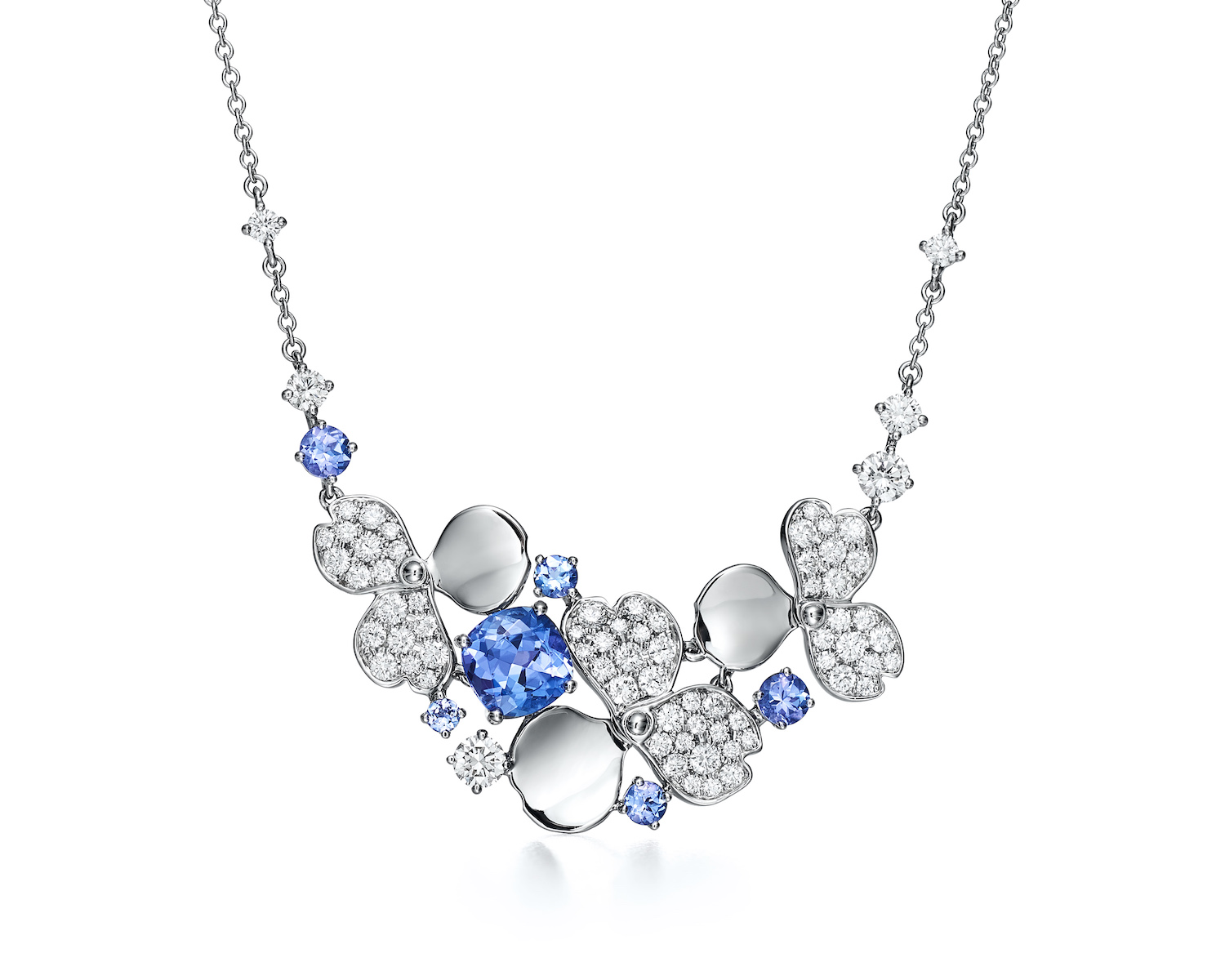 Tiffany Paper Flowers necklace in platinum with diamonds and tanzanites