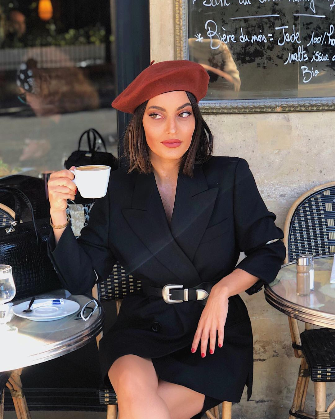 karen wazen paris beret coffee
