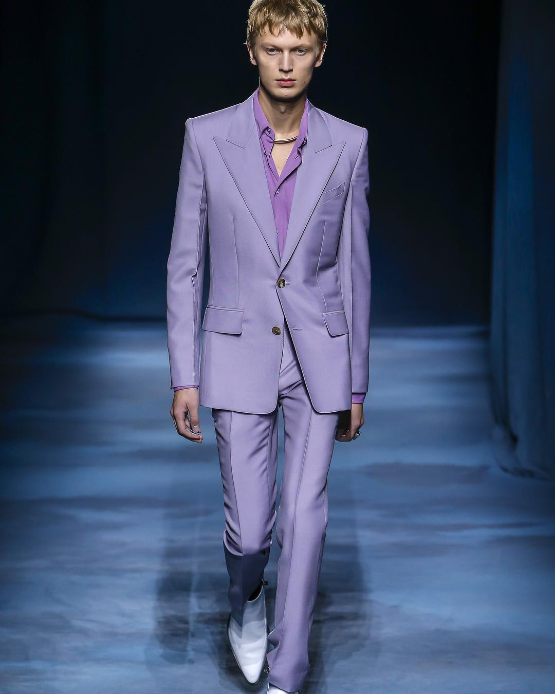 purple suit Givenchy runway