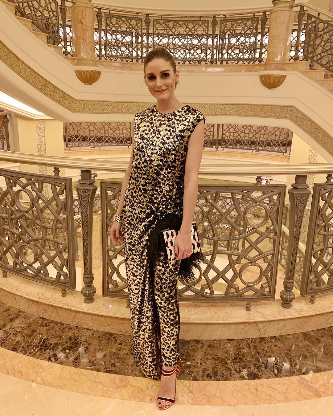 olivia palermo wears middle eastern designers semsem and nathalie trad during F1 weekend abu dhabi