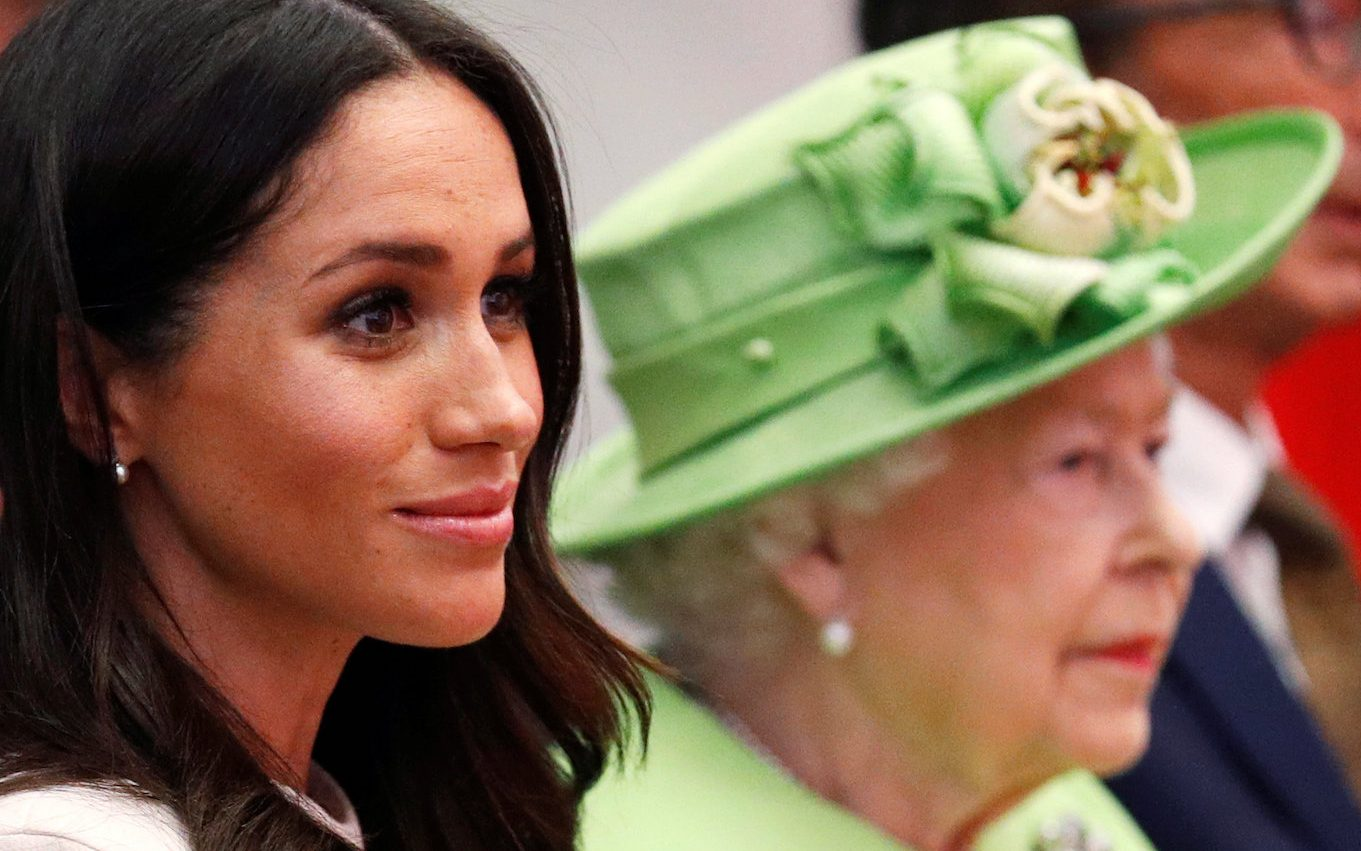 CHESTER, ENGLAND - JUNE 14: Queen Elizabeth II and Meghan, Duchess of Sussex visits the Storyhouse on June 14, 2018 in Chester, England. Meghan Markle married Prince Harry last month to become The Duchess of Sussex and this is her first engagement with the Queen. During the visit the pair will open a road bridge in Widnes and visit The Storyhouse and Town Hall in Chester. (Photo by Phil Noble - WPA Pool/Getty Images)