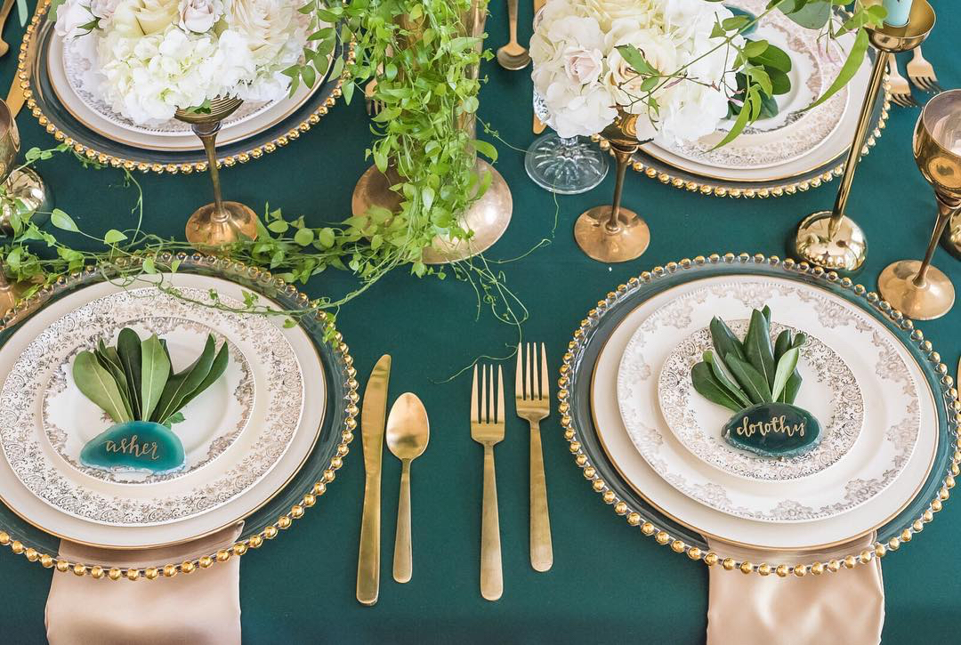 emerald green wedding tabletop decor