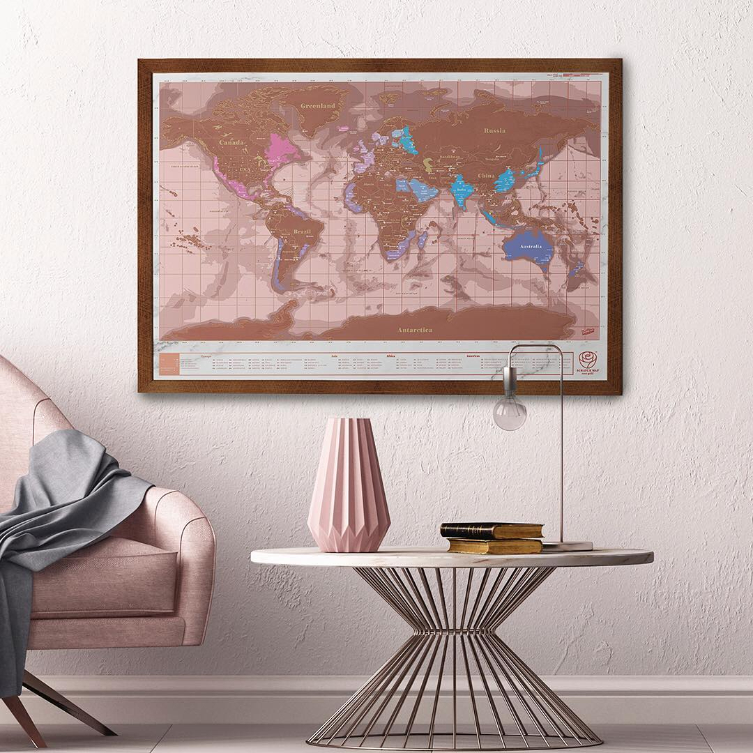 world map pink room travel