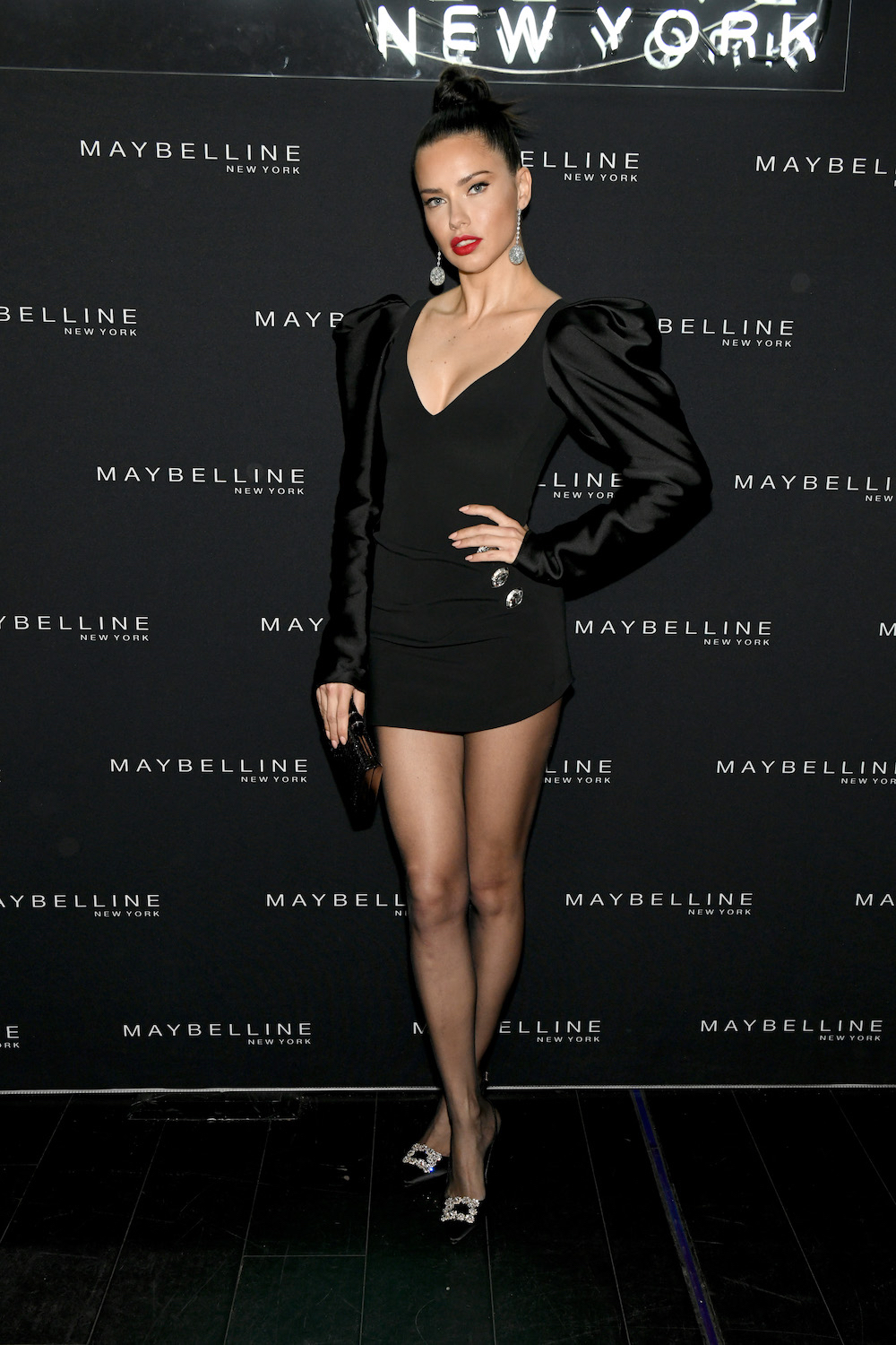 Adriana Lima attends the Maybelline New York Fashion Week Party on February 10, 2019 in New York City.