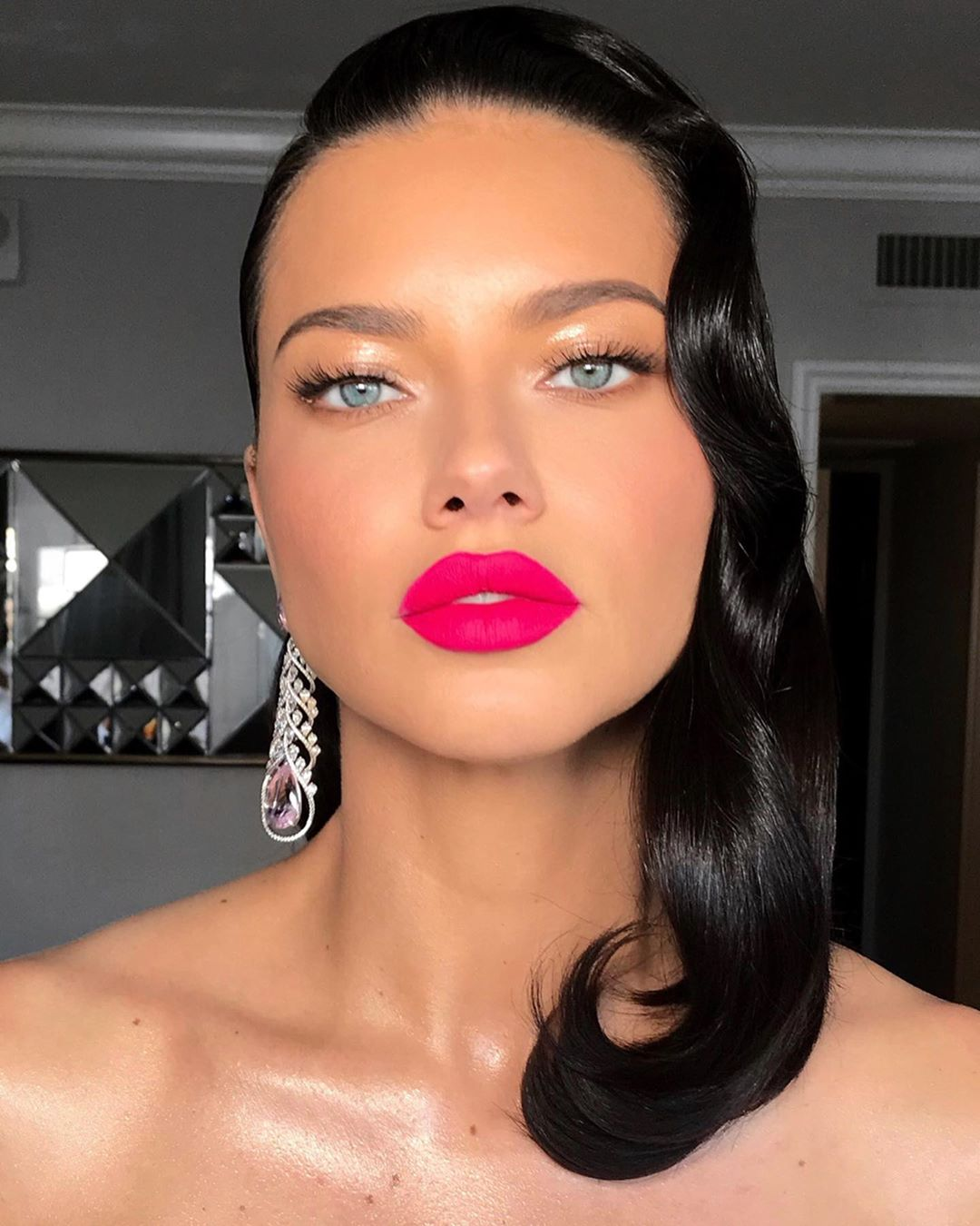 Image result for adriana lima red lip