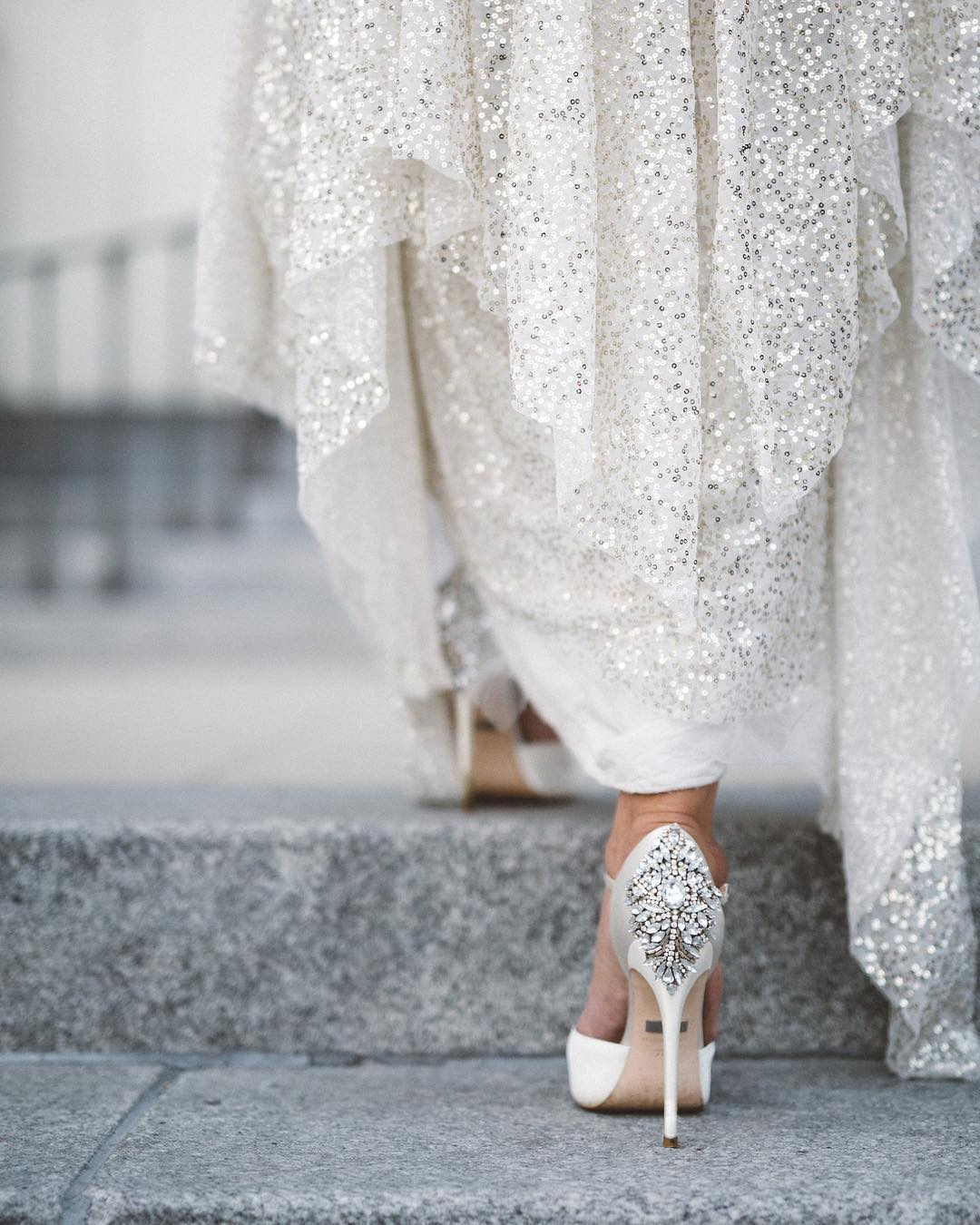 bride steps wedding day silver