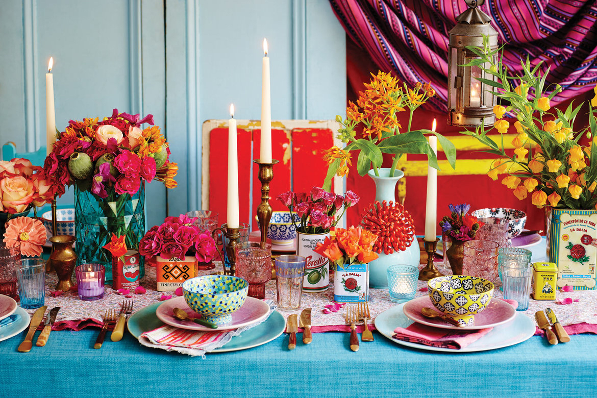 colorful table decor wedding Bridal Guide