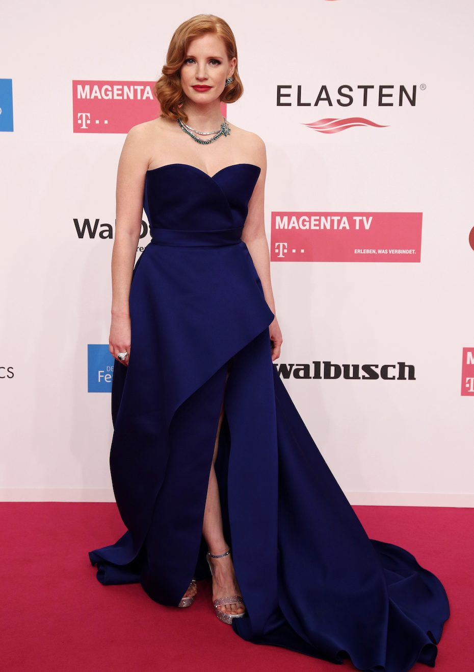 BERLIN, GERMANY - MARCH 30: Jessica Chastain attends the Goldene Kamera at Tempelhof Airport on March 30, 2019 in Berlin, Germany. (Photo by Christian Marquardt/Getty Images)