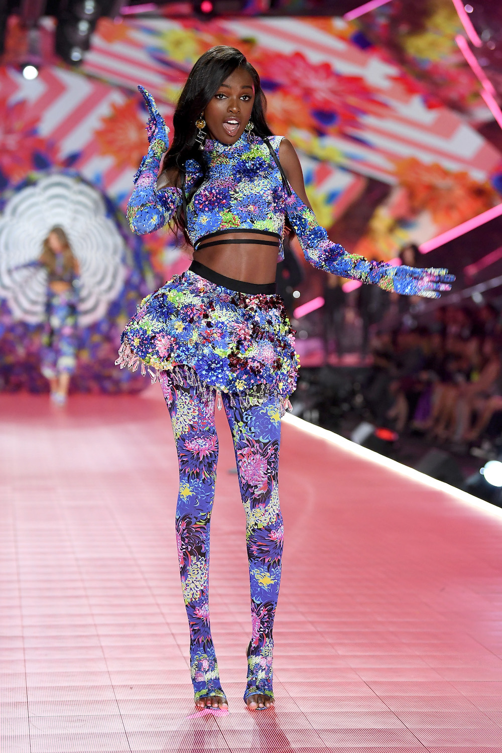Leomie Anderson walks the runway during the 2018 Victoria's Secret Fashion Show at Pier 94 on November 8, 2018 in New York City.