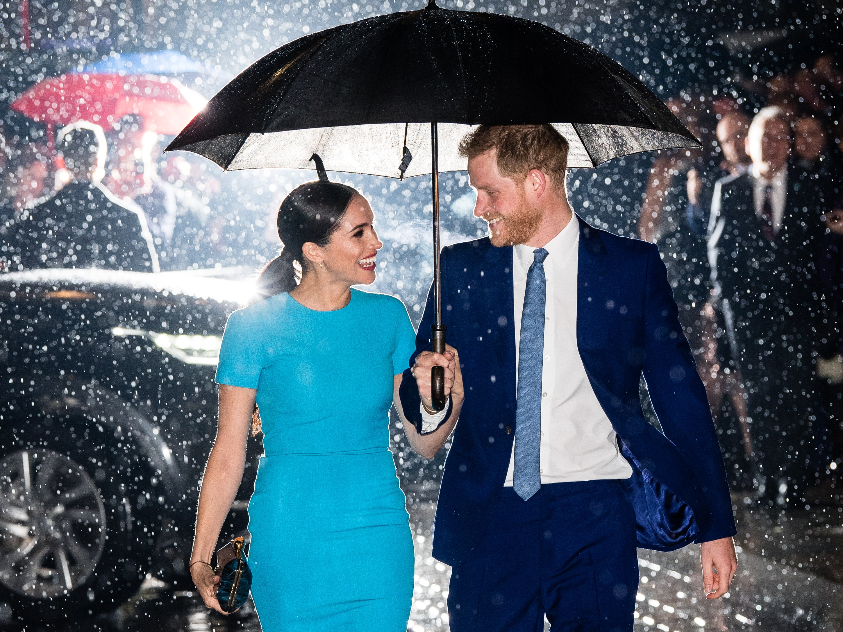 Getty Images meghan harry rain