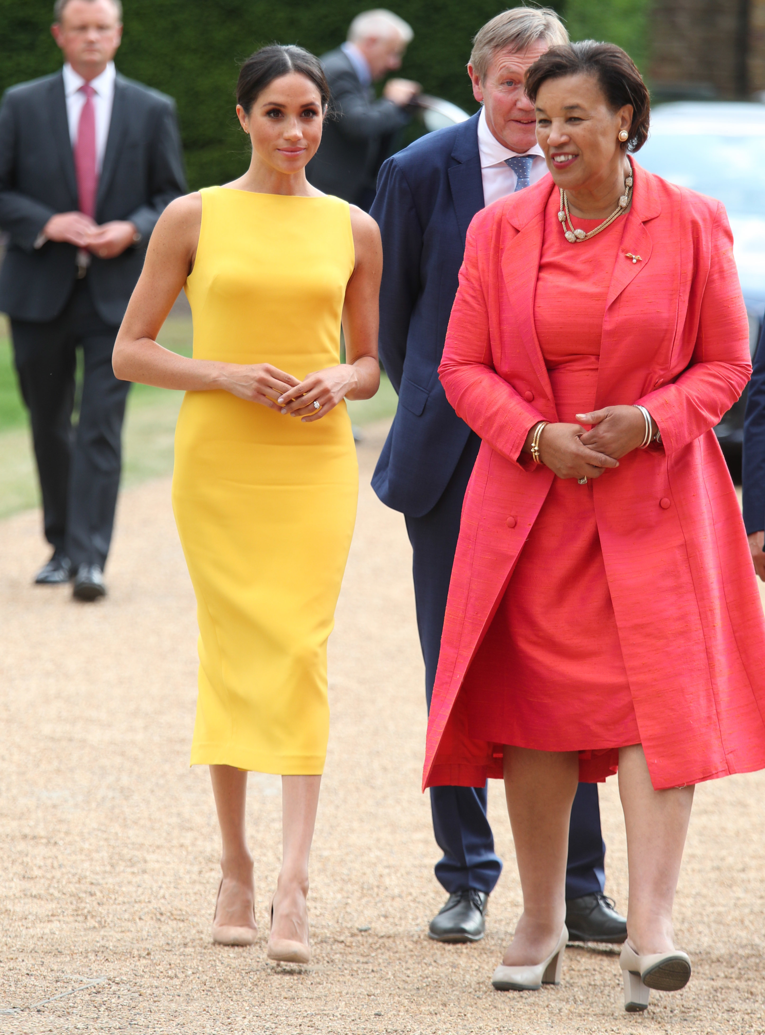 The Duchess of Sussex, accompanied by Commonwealth secretary general Baroness Scotland arrive to attend the Your Commonwealth Youth Challenge reception at Marlborough House in London.