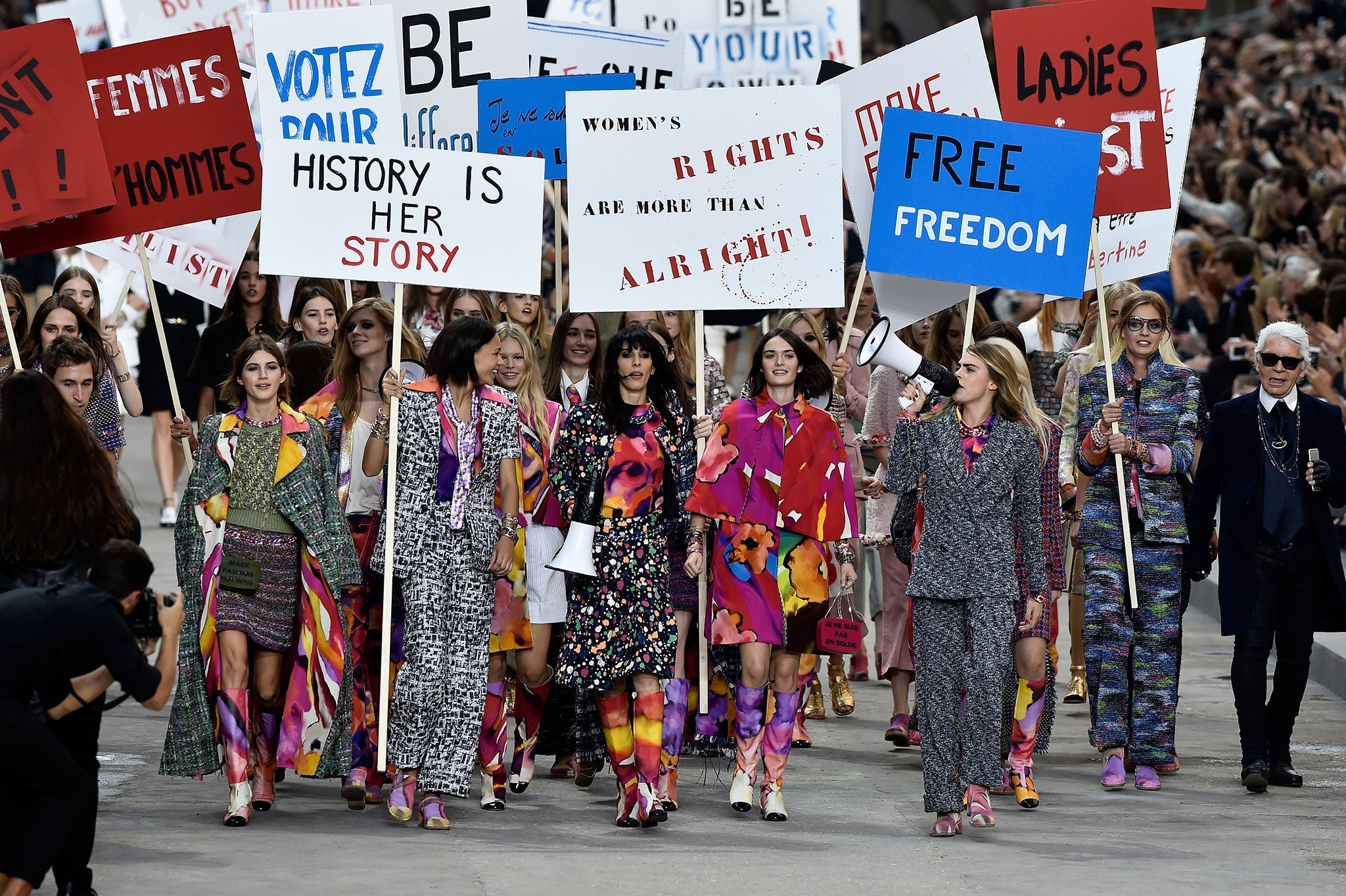 Chanel runway protest