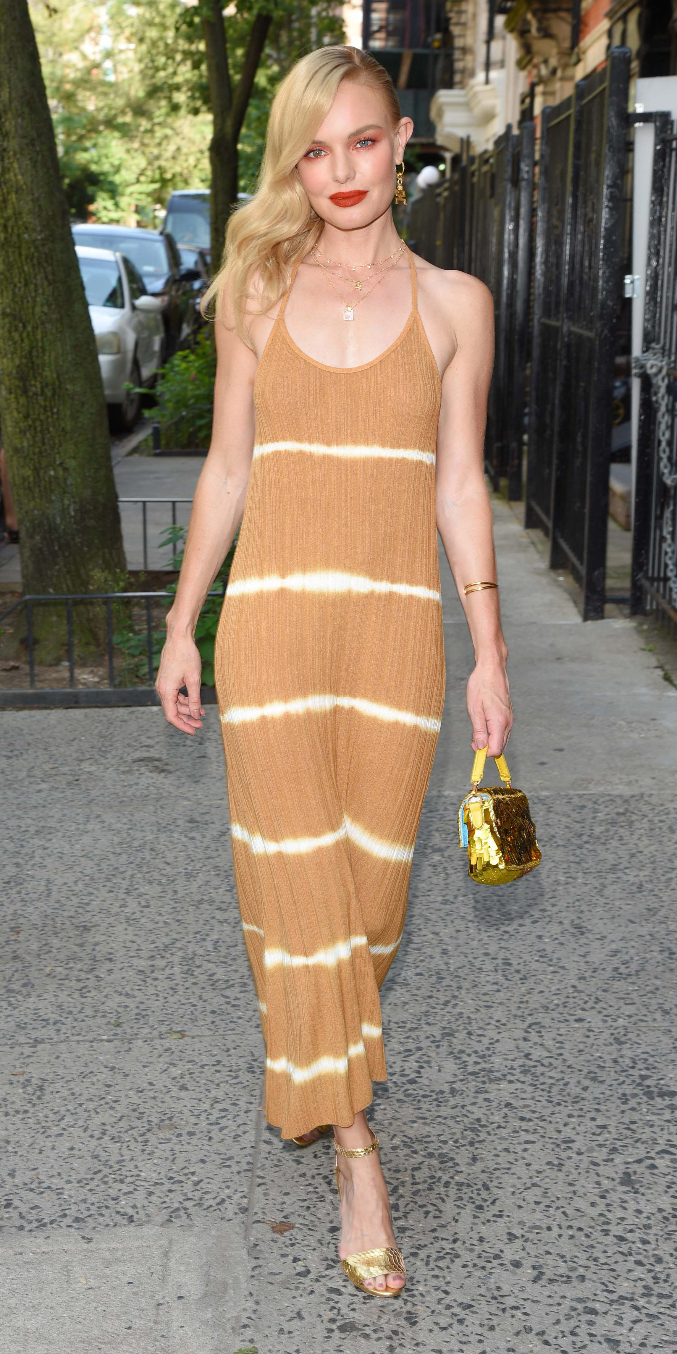 - New York, NY - 08/08/2019 - Kate Bosworth spotted downtown in a pretty full length dress and pretty Missoma London jewelry. -PICTURED: Kate Bosworth -PHOTO by: Michael Simon/startraksphoto.com -MS92422 Editorial - Rights Managed Image - Please contact www.startraksphoto.com for licensing fee Startraks Photo Startraks Photo New York, NY For licensing please call 212-414-9464 or email sales@startraksphoto.com Image may not be published in any way that is or might be deemed defamatory, libelous, pornographic, or obscene. Please consult our sales department for any clarification or question you may have Startraks Photo reserves the right to pursue unauthorized users of this image. If you violate our intellectual property you may be liable for actual damages, loss of income, and profits you derive from the use of this image, and where appropriate, the cost of collection and/or statutory damages.