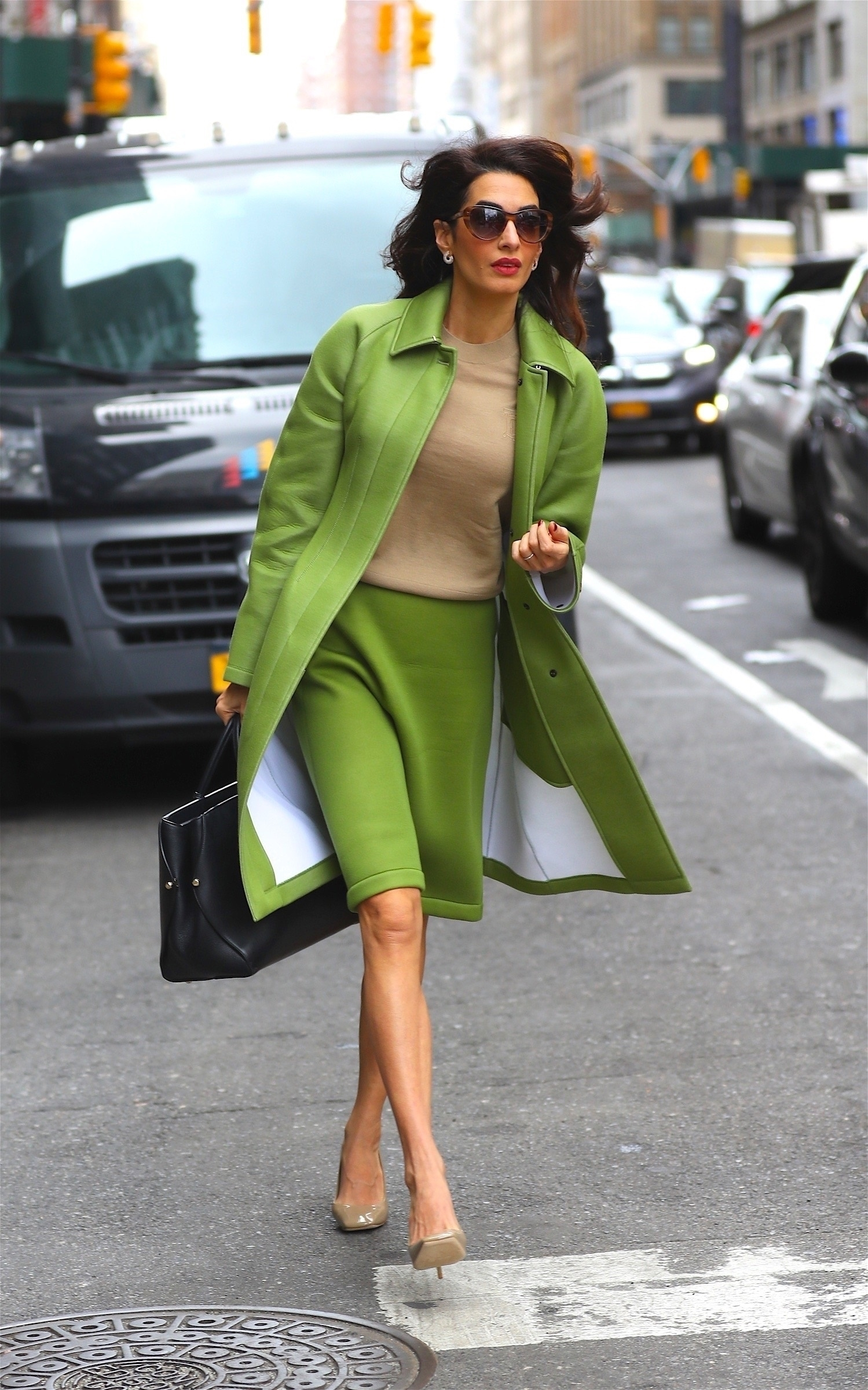 New York, NY - *EXCLUSIVE* - Amal Clooney means business as she treads the NYC streets like a boss for meetings this morning in green two-piece while in town for the United Nations General Assembly. Pictured: Amal Clooney BACKGRID USA 24 SEPTEMBER 2019 BYLINE MUST READ: BlayzenPhotos / BACKGRID USA: +1 310 798 9111 / usasales@backgrid.com UK: +44 208 344 2007 / uksales@backgrid.com *UK Clients - Pictures Containing Children Please Pixelate Face Prior To Publication*