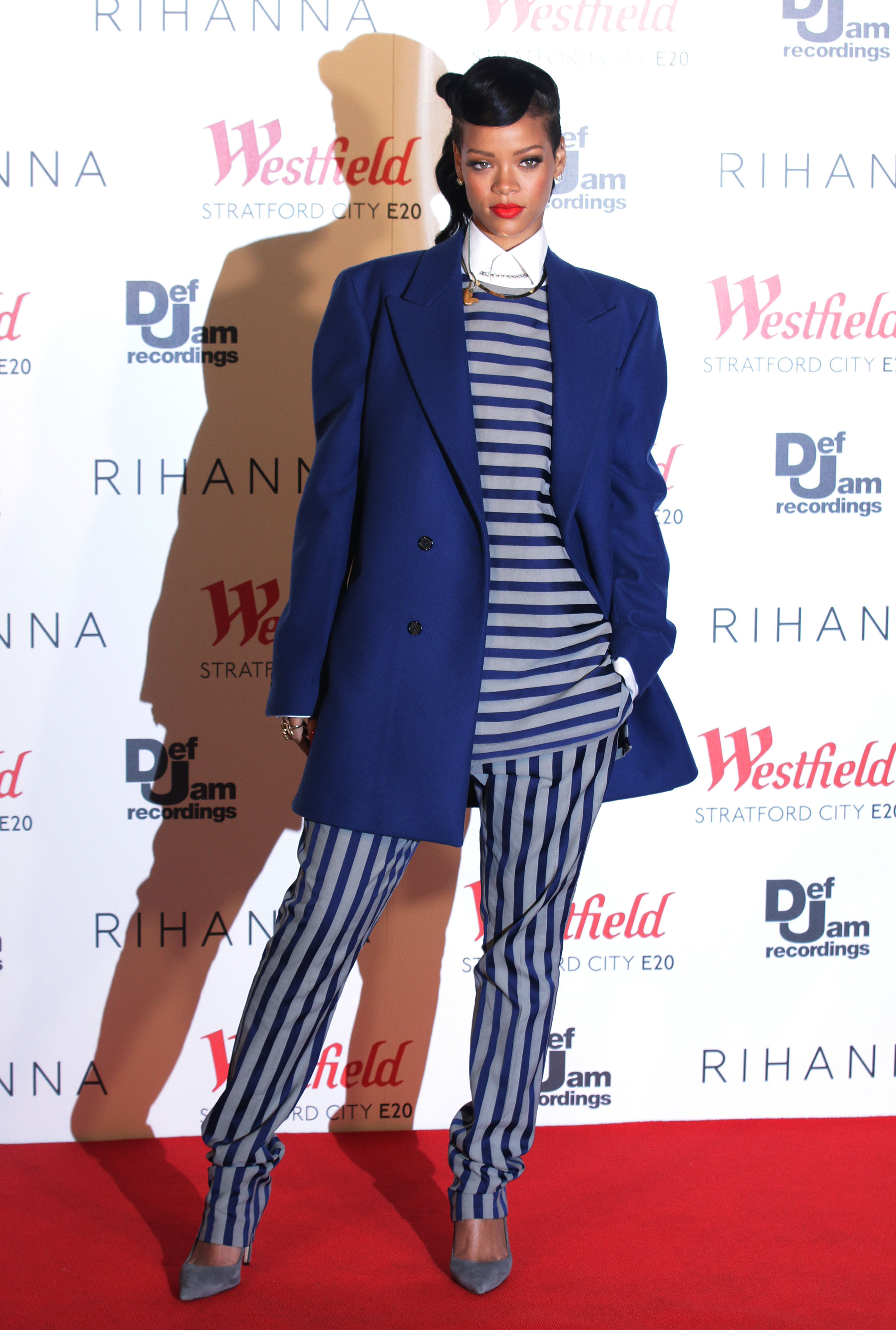 Rihanna during a photocall for the switching-on of the Christmas lights at Westfield Stratford City in east London.