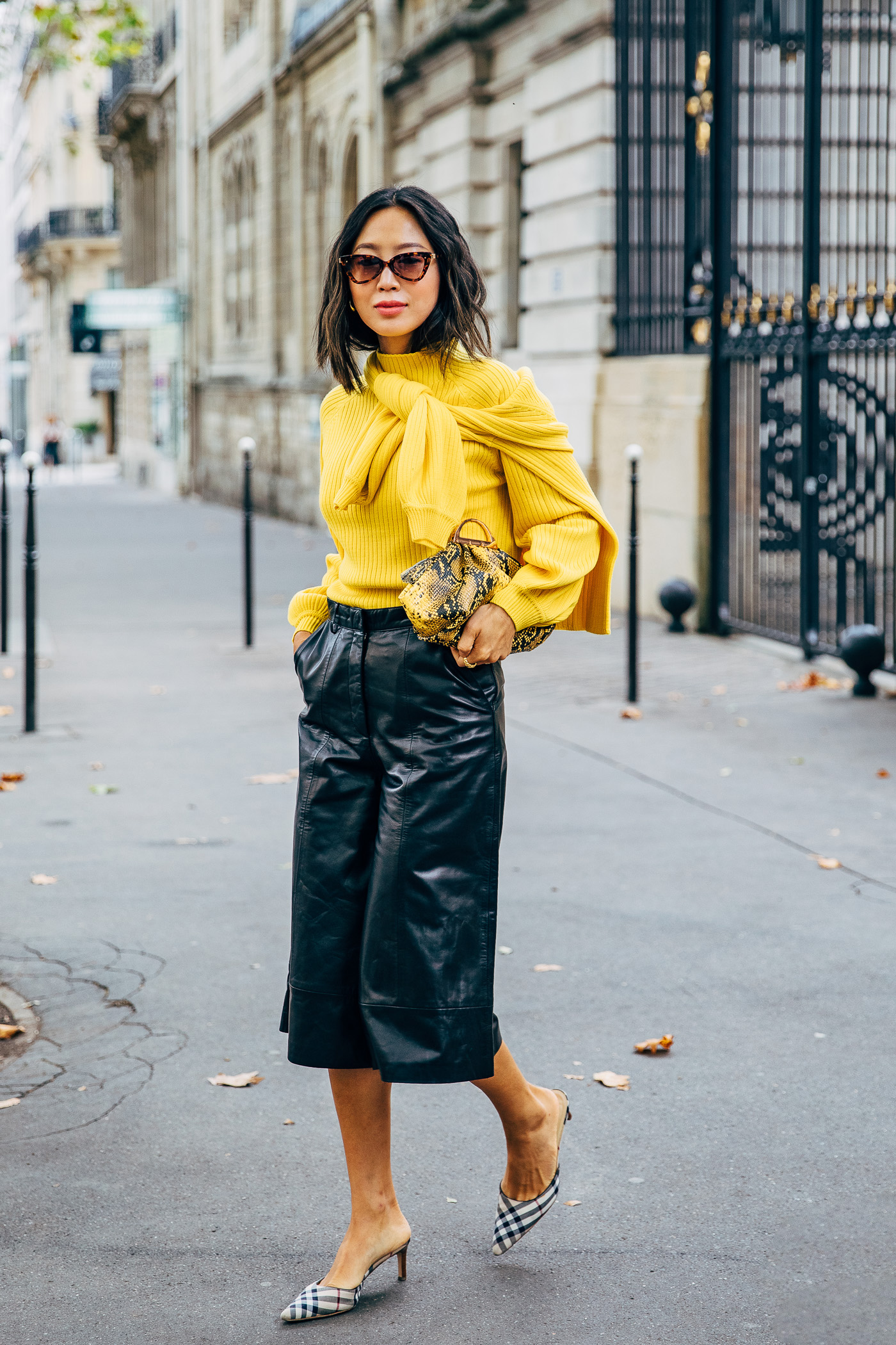 Aimee Song how to wear leather