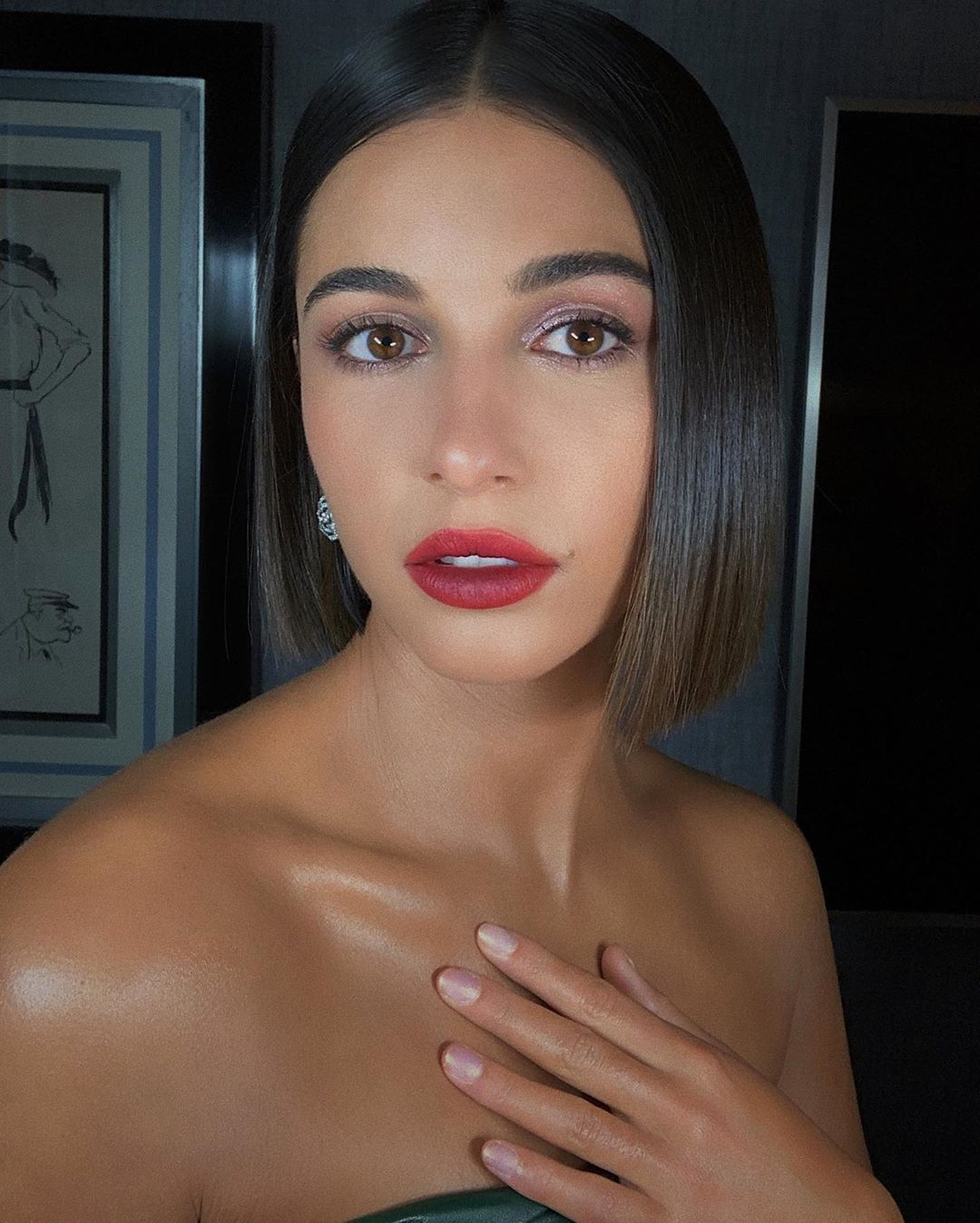 Naomi Scott lilac eyes fuschia lips