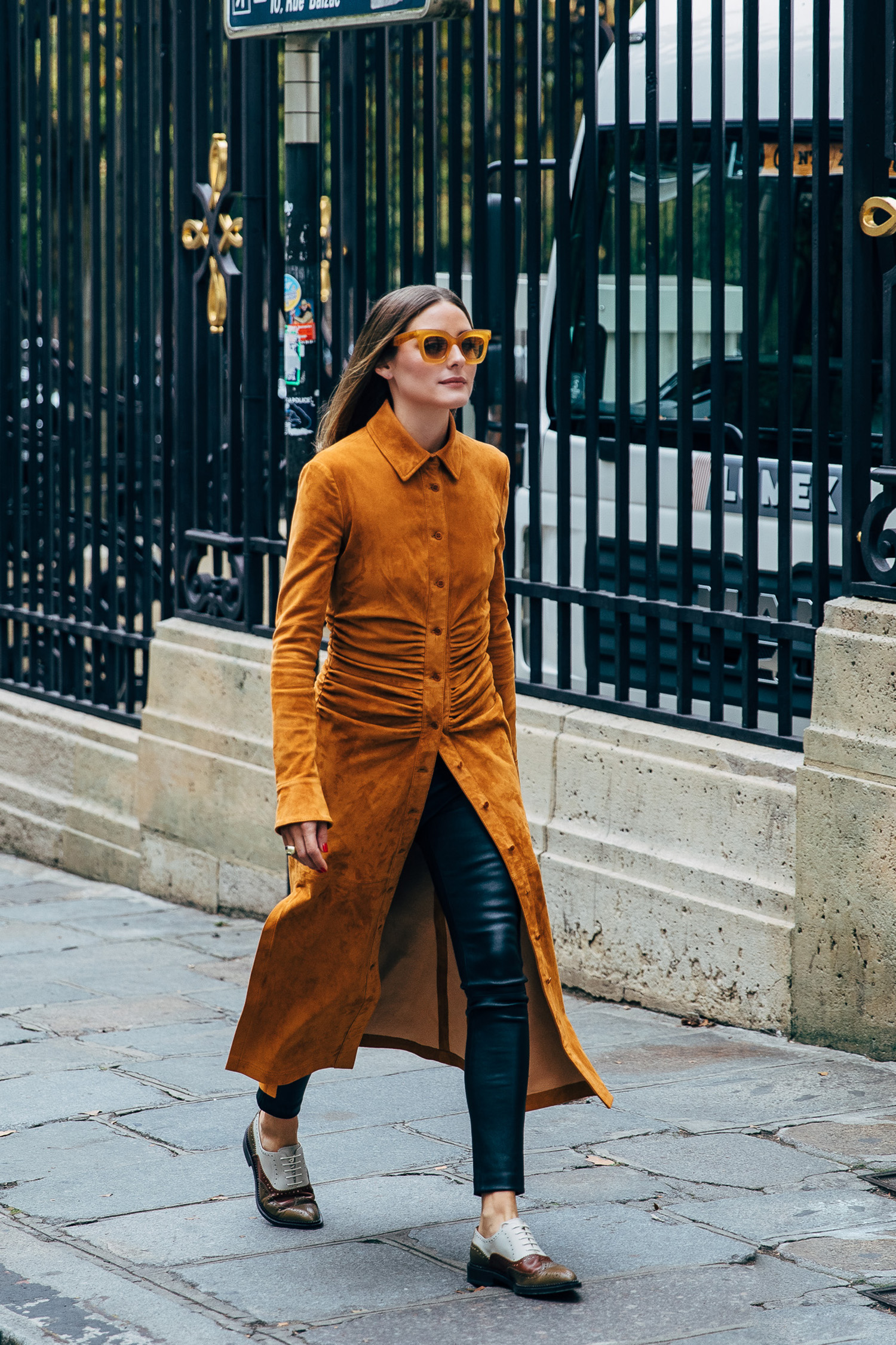 Olivia Palermo leather pants how to wear leather