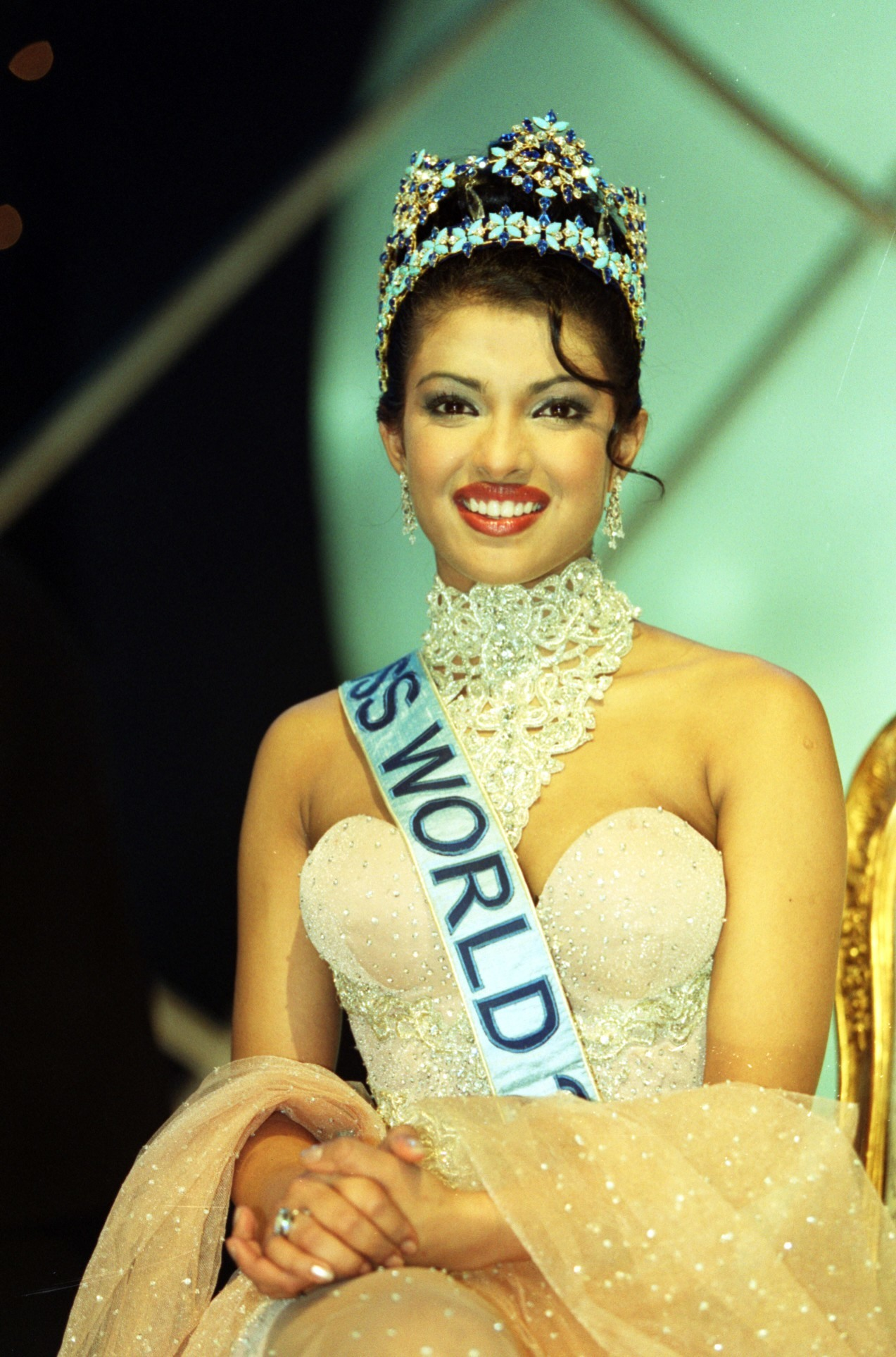 Miss World 2000 winner, Miss India, Priyanka Chopra, 18, during the Miss World contest at The Millennium Dome in Greenwich.