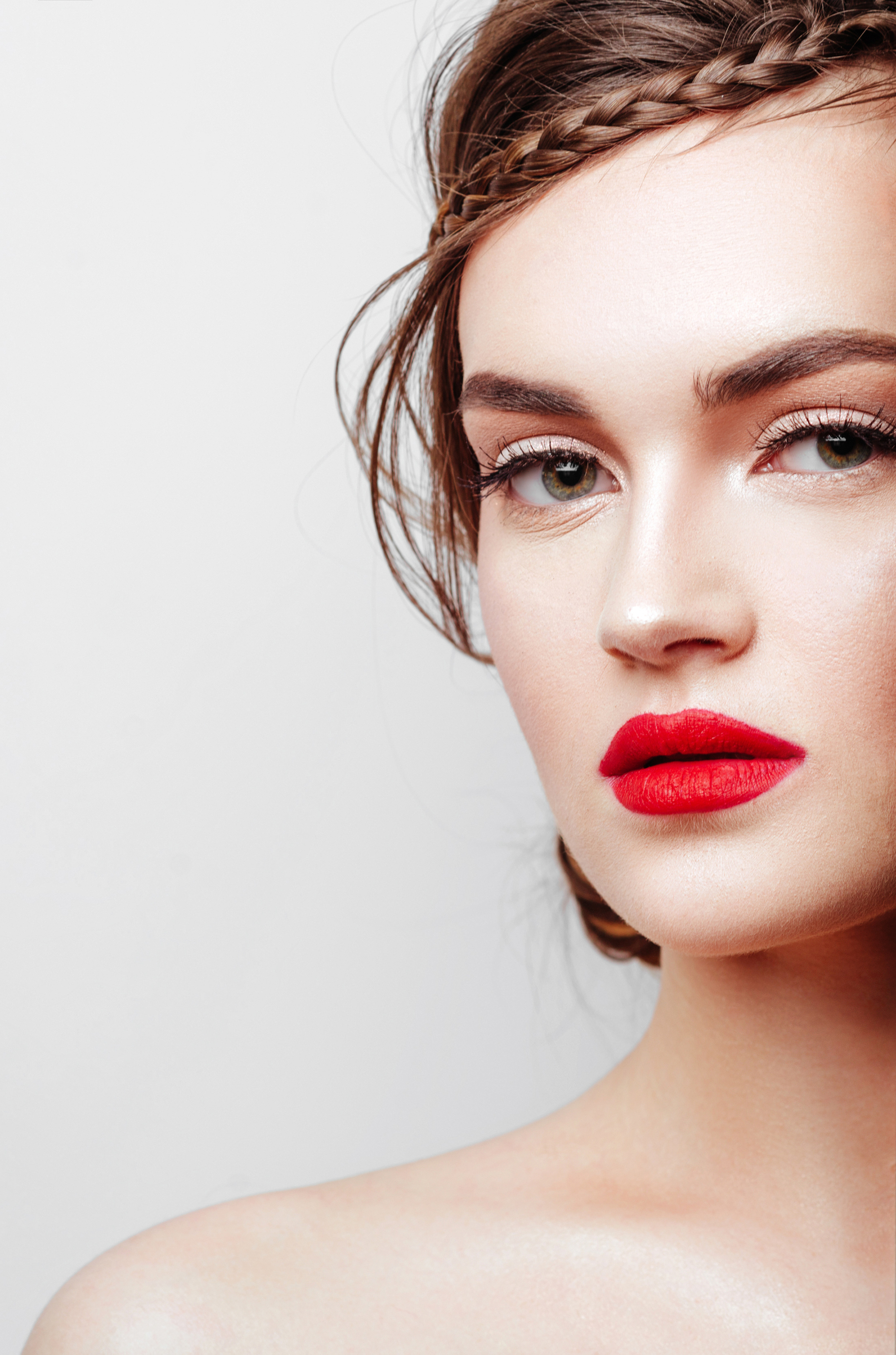 Close up young gorgeous woman with red lips