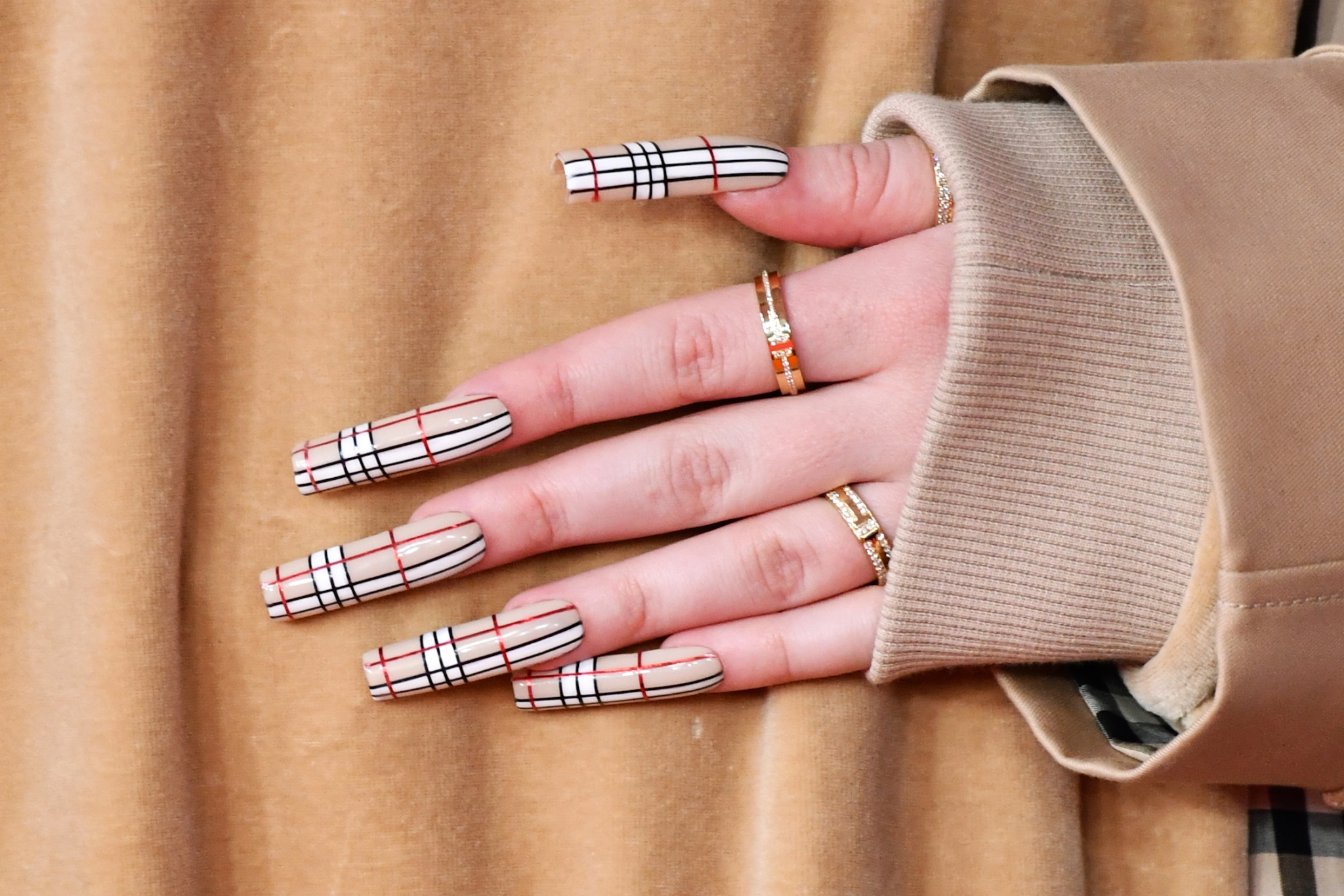Billie Eilish Burberry Logo Manicure