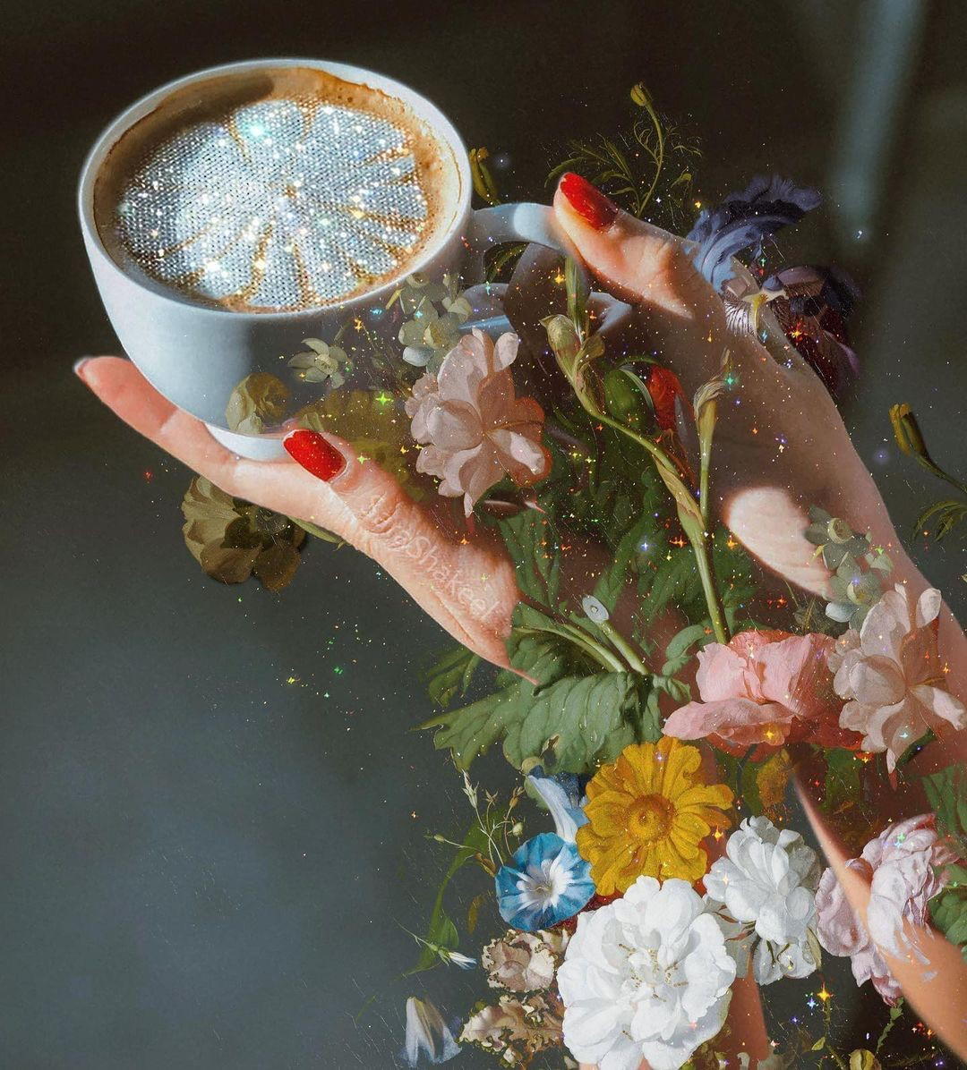 cup hands and flowers sparkling